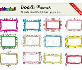 Digital Doodle Fun Frames - clip art - Personal and Commercial Use
