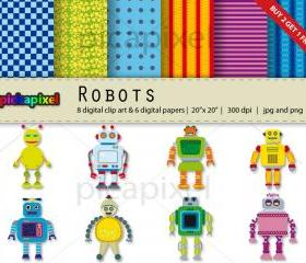 Robots - digital clip art, digital papers - Personal and Commercial Use