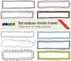 Digital Doodle Rectangular Frames - clip art - Personal and Commercial Use