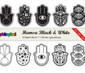 Hamsa Black and White - digital clip art - Personal and Commercial Use