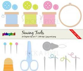 Sewing Love - digital clip art - Personal and Commercial Use