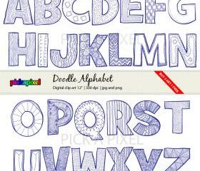 Doodle Alphabet A-Z - Letters- digital clip art - personal and commercial use