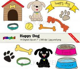 Happy Dog - digital clip art - personal and commercial use