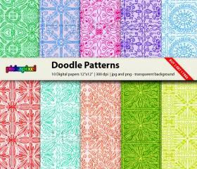 Doodle Pattern Paper - digital clip art - personal and commercial use