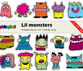 Lil Monsters - digital clip art - COMBO PACK: in colors and black outline - Personal and Commercial Use