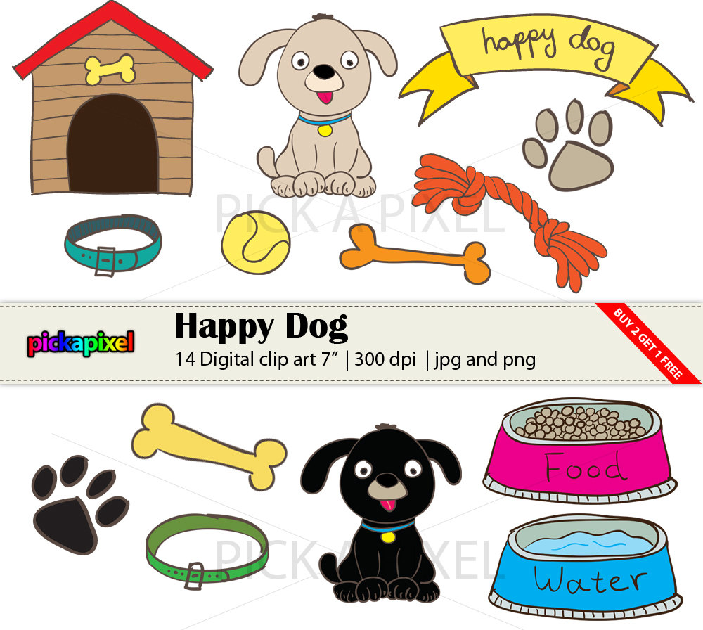 Happy Dog - Digital Clip Art - Personal And Commercial Use on Luulla
